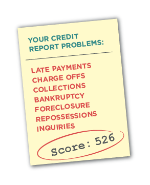 an illustration of a credit report with a low score