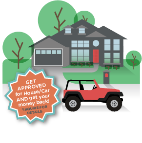 an illustration of a home and a car with approved loan forms