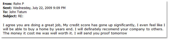 Testimonial from Rohn P. About Credit Score Increase