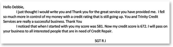 Sgt. RJ Credit Ratings Continue To Increase